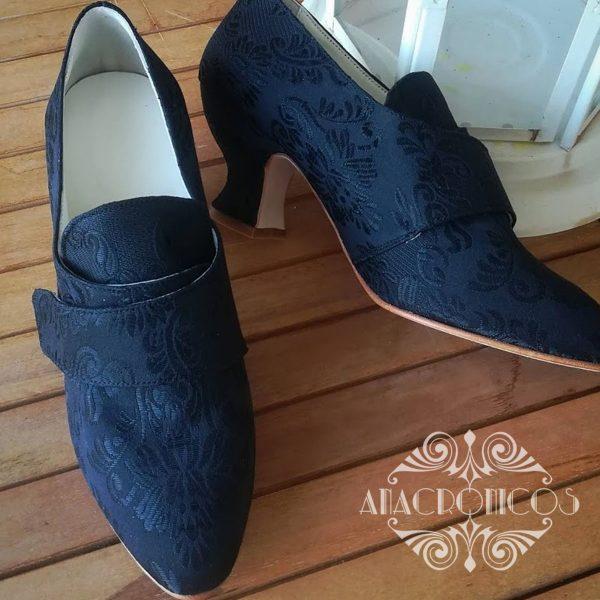 Negro Mujer Modelo 18th Brocado Zapato Sil la Anacronicos dacwgYxqxS